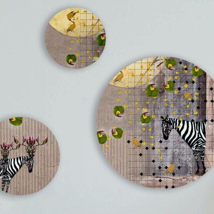 Calamine Zebra Round Art