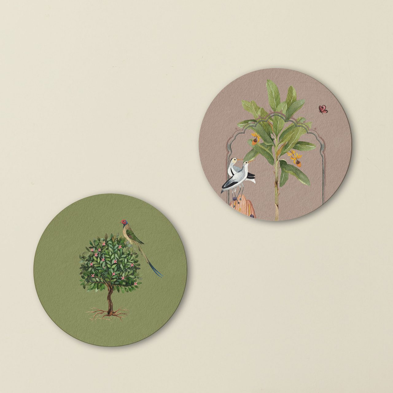 Birds of Feather Round Wall Art Set